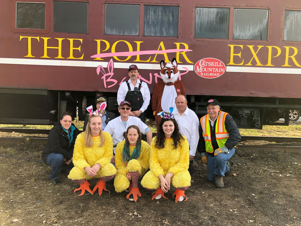 Crew of The Easter Express posing in front of it