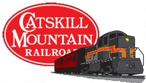 Catskill Mountain Railroad Logo with train in front