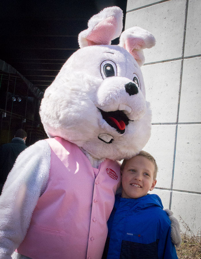 Easter Bunny posing with little boy