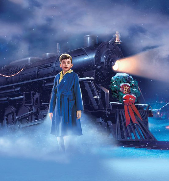 Young boy standing in front of Polar Express