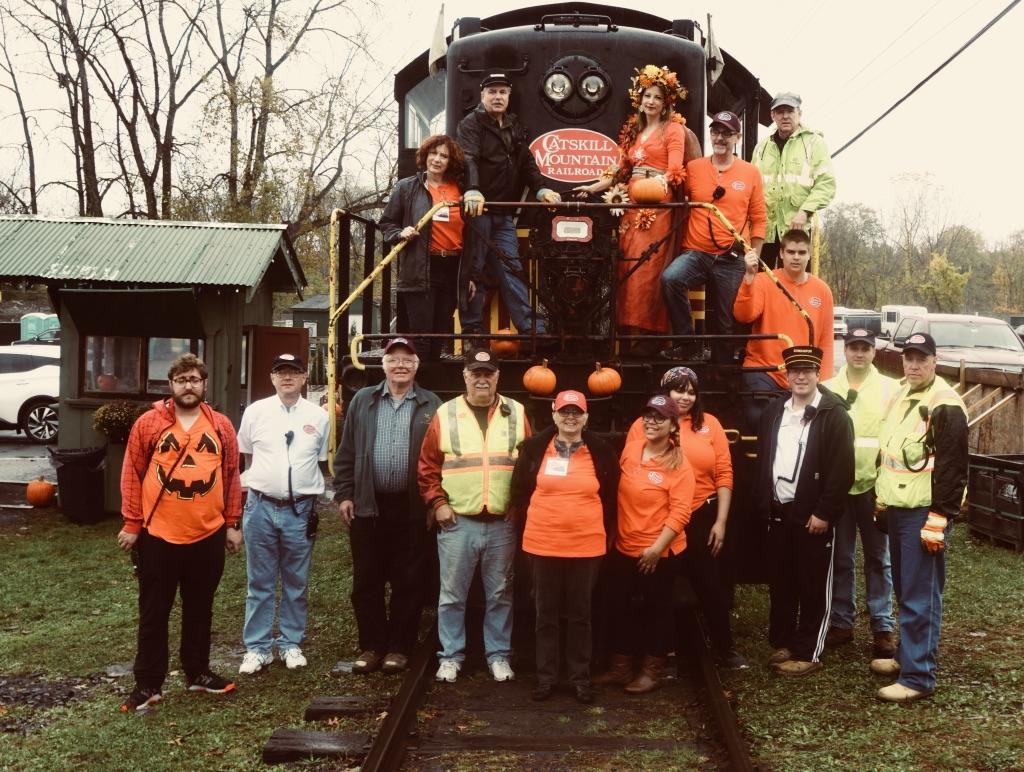 Staff aboard fall flyer train