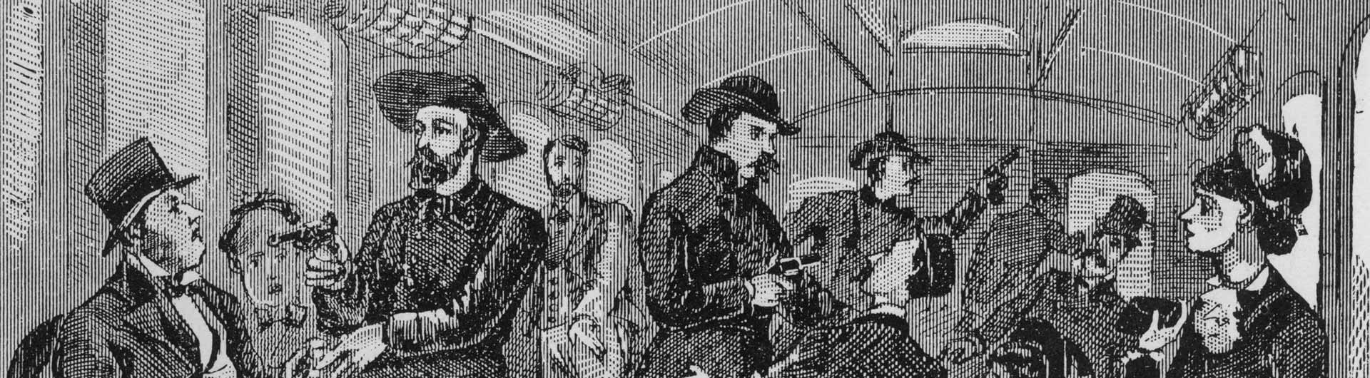 Old black and white illustration of people on a train