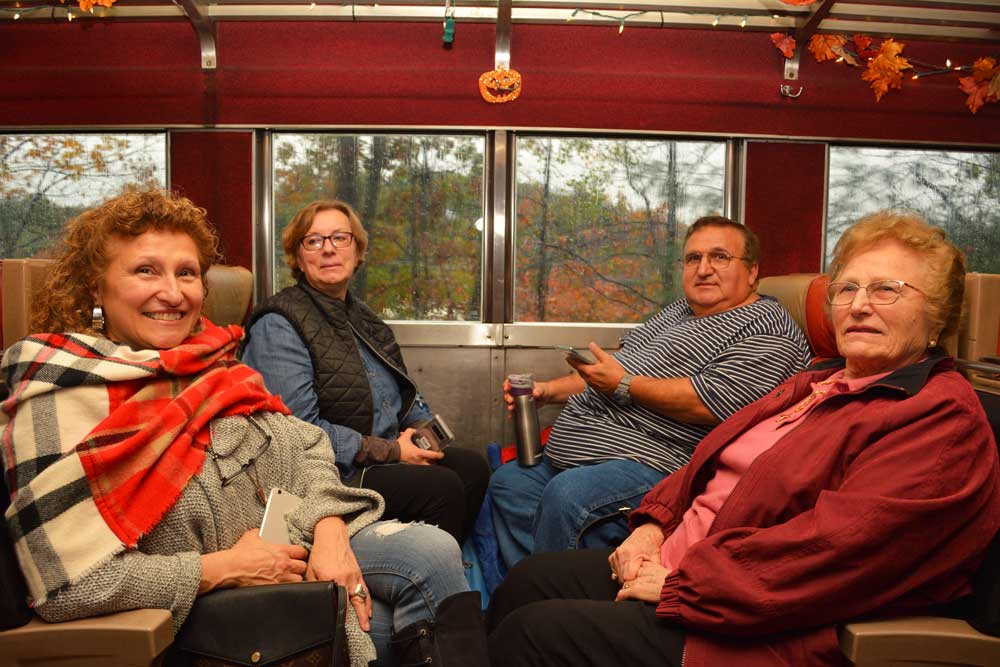 family on board the train