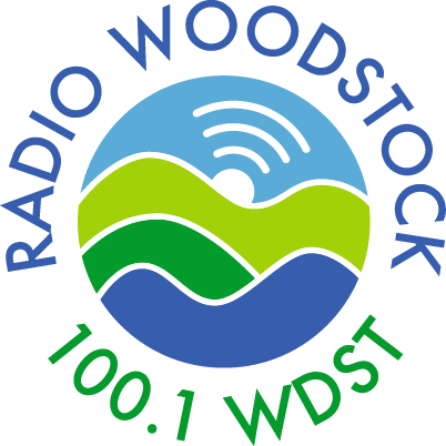 Radio Woodstock Logo with hills and radio beacon