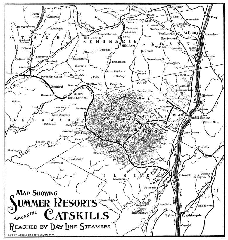 Summer resorts at the catskills train map