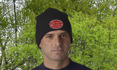 man wearing catskill mountain railroad beanie